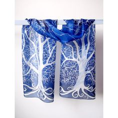 silk scarves White Tree of Gondor long silk scarf LOTR scarf (€81) ❤ liked on Polyvore featuring accessories, scarves, white silk scarves, oblong silk scarves, white shawl, silk shawl and pure silk scarves