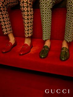 In richly colored exotic leathers, the men's Gucci Horsebit loafers, designed by Alessandro Michele for Gucci's Spring Summer 2016 Collection.