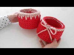 Penye ipten yuvarlak sepet süsleme yapımı ( 2 farklı modelle sepet süsleme) - YouTube