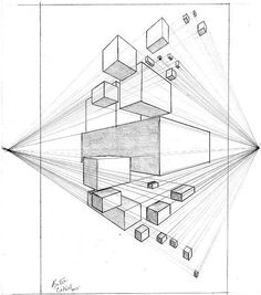 2 Point Perspective Drawing Lessons by katiecahillart 2 Point Perspective Drawing, Perspective Art, Technical Drawing, Teaching Art, Art Techniques, Art Tutorials, Art Lessons, Art Drawings, Pencil Drawings