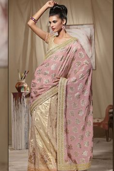 Embroidered Beige and Lavender Pink Wedding Lehenga Style Saree