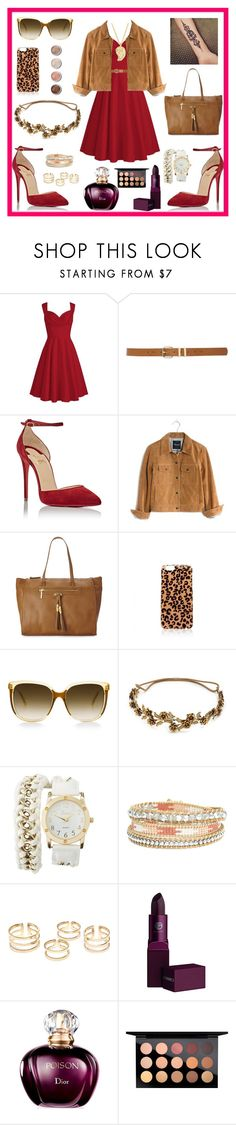 """Plus size in red"" by julietarequena on Polyvore featuring moda, M&Co, Christian Louboutin, Madewell, Olivia + Joy, Forever New, Jennifer Behr, Charlotte Russe, Terre Mère y Lipstick Queen"