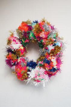 Modern Christmas Pom Pom Tinsel Wreath LARGE | Etsy Whimsical Christmas, Modern Christmas, Retro Christmas, Winter Christmas, All Things Christmas, Christmas Holidays, Bohemian Christmas, Winter Holidays, Christmas Decorations List