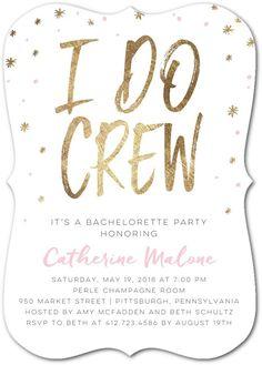 I Do Crew - Signature White Bachelorette Party Invitations in Blushing or Black | Sarah Hawkins Designs