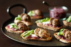 With the help of Lamb Meatball Tartines with Onion Jam, your #oscars2015 party is going to be gLAMB!