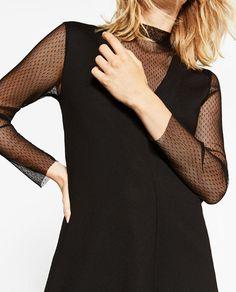 Image 4 of LONG SLEEVE PLUMETIS DRESS from Zara