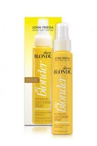 "John Frieda Sheer Blonde Go Blonder Controlled Lightening Spray, $9.99 - TotalBeauty.com average member rating: 8.1* Why: ""I used another lightening spray years ago, but it not only turned my hair an interesting shade of orange, it turned it to straw. Oh yes, and the smell was terrible! This product is the total opposite. he color is pure and almost crystalline in shine. It also leaves my hair soft and conditioned so there is no straw head! And the scent is very pleasant."""