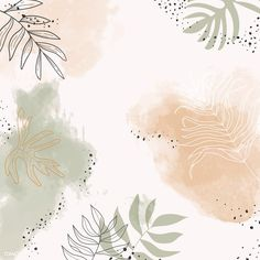 Beige leafy watercolor background vector   premium image by rawpixel.com / Aum Watercolor Wallpaper Iphone, Watercolor Cards, Watercolor Background, Abstract Watercolor, Yoga Background, Background Patterns, Abstract Backgrounds, Wallpaper Backgrounds, Business Thank You Cards