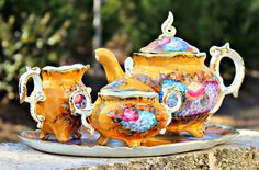 Gold and Floral Vintage Decorative Tea Set