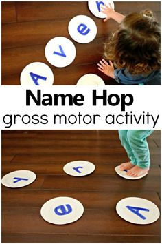 Name Hop Gross Motor Name Activity-Such a fun way to teach preschoolers to recognize their name! #preschool #nameactivity #grossmotor
