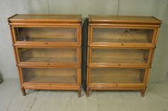 Fabulous Pair Of Globe Wernicke Mahogany Stacking Lawyers Bookcases / Bookshelf