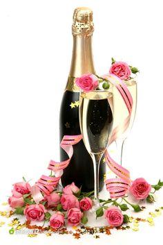 玫瑰花丝带和香槟酒摄影图片