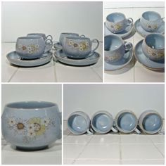4 x Cups & Saucers - Denby Reflections Tea Coffee Vintage British Blue FREE P&P