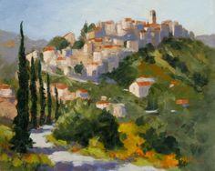 Road to Montigiovi plein air oil painting by Sharon Lynn Williams, painting by artist Sharon Lynn Williams