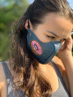 Diy Mask, Diy Face Mask, Face Masks, Tapas, Blue Face Mask, Leather Mask, Fancy, Fashion Face Mask, Leather Design