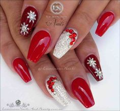 Red and Gold Christmas Acrylic Nails - Fresh Red and Gold Christmas Acrylic Nails , Red White Christmas Nails Acrylic Gel Nails Luminous Christmas Gel Nails, Holiday Nail Art, Christmas Nail Art Designs, Gold Nail Designs, Acrylic Nail Designs, Acrylic Nails, Coffin Nails, Nails Design, Nail Art Noel