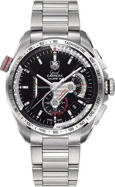 e7874082488ab Calibre 36 RS Caliper Automatic Chronograph Grand Carrera watch by TAG Heuer  - brushed and polished steel case and bracelet with black dial and red  accents