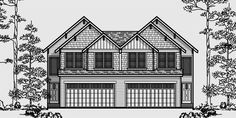 Duplex house plans narrow lot duplex design easily for Townhouse plans with double garage