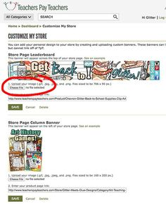 Uploading a Custom Store Banner on Teachers Pay Teachers and other great marketing tips from Glitter Meets Glue.