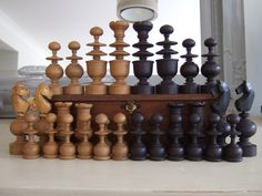 LARGE SIZE Antique French REGENCE PATTERN Turned wood wooden CHESS PIECES, Set