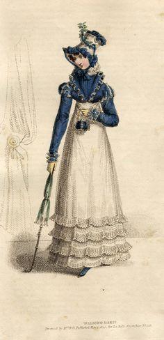 Dark blue bonnet, spencer, reticule and parasol, 1820 La Belle Assemblee