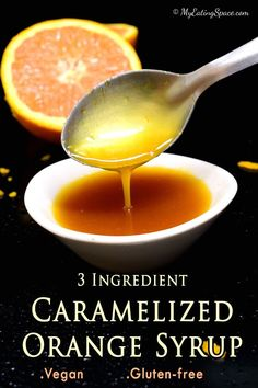 Vegan caramelized orange syrup that can be made with 3 ingredients. They are great to make drinks and desserts. Drizzle it over pancakes or waffles and enoy. The syrup can be made ahead and stored in the refrigerator. Enjoy some orange love throughout the year, whether oranges are in season or not.