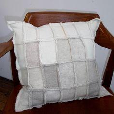 Modern felted wool sweater pillow