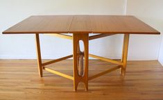 Danish gateleg dining table with arched base Foldable Dining Table, Teak Dining Table, Table And Chairs, Teak Furniture, Furniture Manufacturers, Drafting Desk, Mid-century Modern, Mid Century, Woodworking