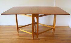 Danish gateleg dining table with arched base Foldable Dining Table, Teak Dining Table, Table And Chairs, Teak Furniture, Furniture Manufacturers, Drafting Desk, Mid-century Modern, Mid Century, Danish