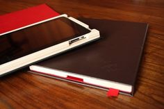 iPad case by Pad & Quill. Totally functional and beautiful. Love that it looks like a Moleskine sketchbook