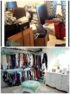 decorating before and after spare room turned closet on a budget, bedroom ideas, closet, organizing Bedroom Turned Closet, Spare Room Closet, Spare Bedroom Closets, Diy Walk In Closet, Budget Bedroom, Closet Space, Bedroom Decor, Spare Room Storage Ideas, Spare Bedroom Ideas On A Budget