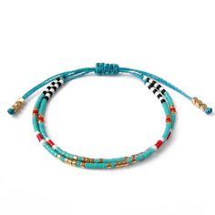 Bracelet turquoise, Bracelet en perle de rocaille, Bracelet brésilien, bijoux d'été, bleu océan, Yoga Bracelet, bijoux Turquoise