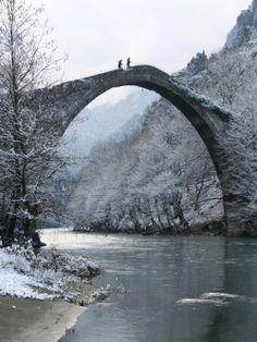 Beautiful Old Stone Bridge over the River Aoos, Konitsa (Epirus), Greece