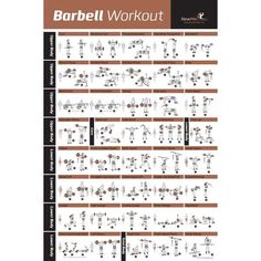LAMINATED, BARBELL POSTER CONTAINS: 40 great barbell exercises! Great for home gyms, hotel/condo/apartment gyms, fitness clubs and indoor workouts. EASY TO FOLLOW: Clearly Illustrated Start/Finish Positions and Shows Exactly Which Muscles are Targeted During Each Exercise. WORKOUT YOUR ENTIRE BODY: Exercises for Your Entire Body | Upper, Lower & Core Body Workouts TRANSFORM YOUR BODY: Build Muscle | Tone & Tighten Your Body | Develop your Six Pack | Impr...