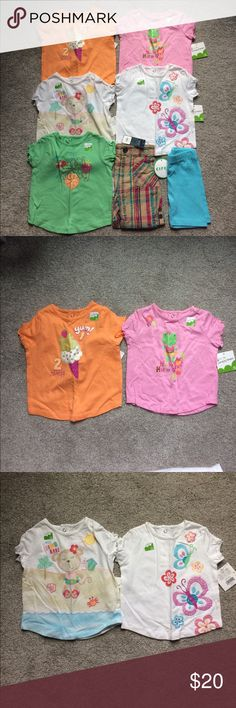 ☀️ 7 piece girls spring/summer lot ☀️ Brand new with tags girls 7 piece spring/summer lot.  Lot includes 5 adorable shirts and 2 pairs of shorts.  Size is 12m. jumping beans Shirts & Tops Tees - Short Sleeve