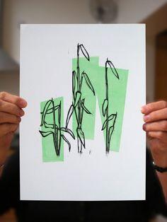 Making a Linoprint from Your Sketch. Making a two colour linoprint from your sketch. Gelli Printing, Screen Printing, Linocut Prints, Art Prints, Block Prints, Stencil, Lino Art, Inspiration Art, Linoprint