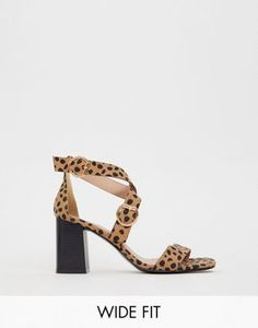 New Look wide fit multi strap heeled sandal in animal print