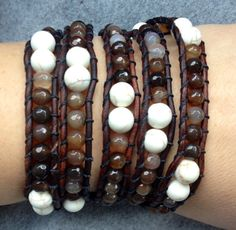 Brown and White Agate Turquoise beaded leather by DESIGNbyANCE
