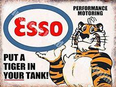 Vintage Garage, Esso Petrol Tiger Motor Oil Old 40 Advert, Large Metal/Tin Sign Vintage Advertising Signs, Vintage Advertisements, Vintage Ads, Vintage Posters, Retro Ads, Advertising Poster, Vintage Style, Old Gas Pumps, Vintage Gas Pumps