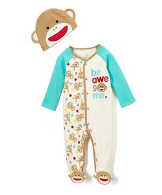 281471b435 Baby Starters Brown Be Awesome Sock Monkey Footie - Infant