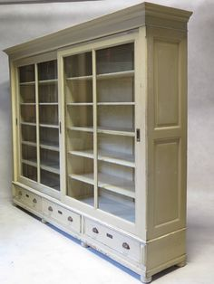 Elegant Bookcase With Sliding Gl Doors France Early 20th Century 8
