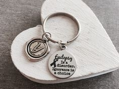 Epilepsy, Epilepsy is a, disorder Ignorance, is a choice, Epilepsy Awareness, Epilepsy Survivor, Fighter, Purple Ribbon, Silver Keychain by SAjolie, $19.95 USD