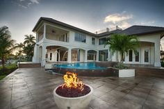 Aquilane Shores - Dream Home Alert | 920 17th Ave South, Naples, FL 34102 | Lanai with fire bowls
