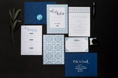 Blue, Portuguese tile inspired, destination wedding invitation set by Rose, Paper, Scissors. Modern calligraphy with pig wax seal