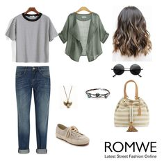 """""""Striped Loose T-Shirt by ROMWE"""" by francielerocha ❤ liked on Polyvore featuring мода, Superga, UGG Australia и dVb Victoria Beckham"""