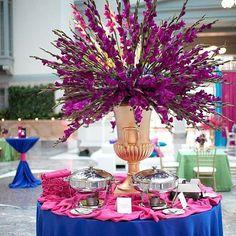 Don't just serve food on a blank table. Add a decor element. #wedding #celebrate #indianwedding #weddingdecor #weddinginspiration #potd #purple #food #caterer