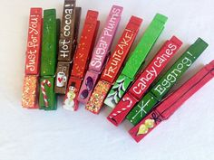 10 CHRISTMAS CLOTHESPIN hand painted magnets by SugarAndPaint
