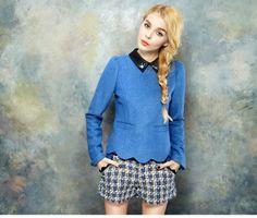 2013 Fashion Top Winter Clothing Vintage PU Patchwork Beaded Peter Pan Collar Gem Cravat Wave Edge Wool Pullover Blue Yellow