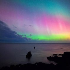 Northern lights rising over Iceland