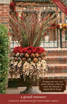 Hobby Lobby Project - A Grand Entrance - front porch, sprays, planting urns, dried flowers, pedestal planters, entryway, swags, feathers